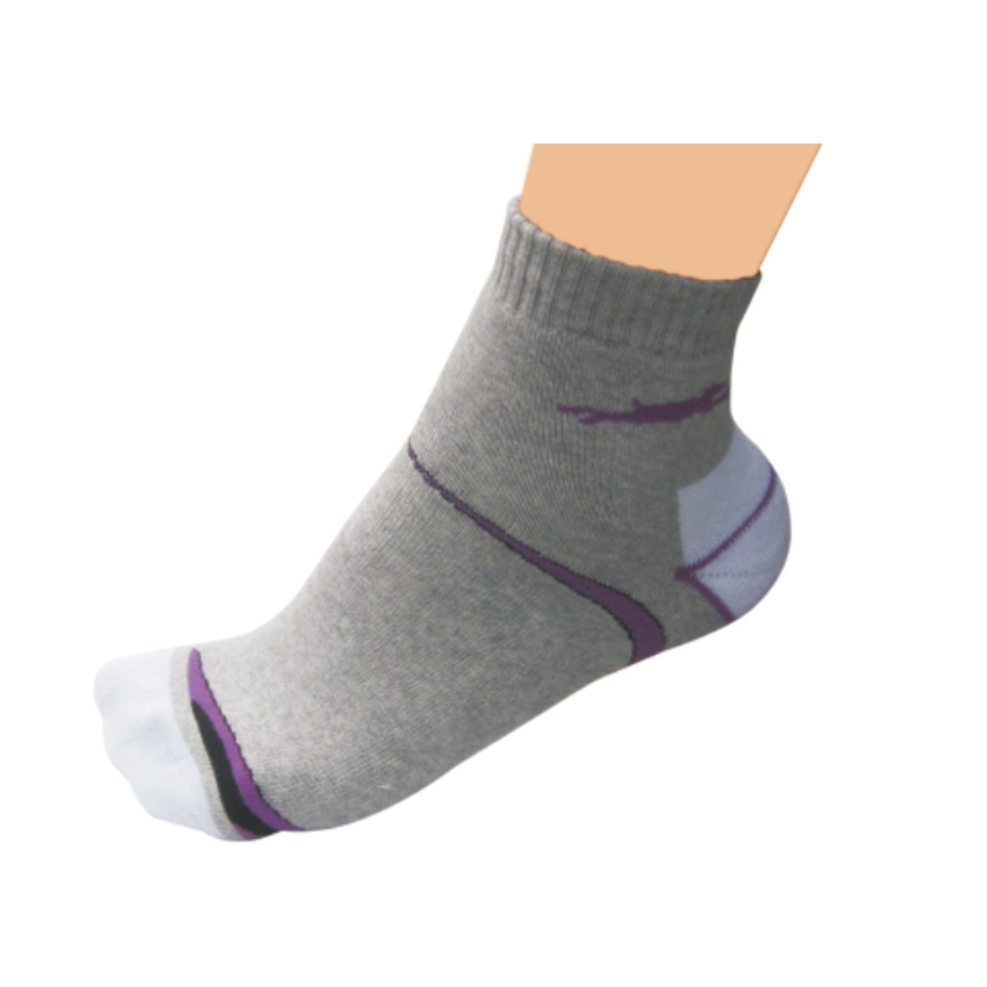 SOCKS (Light Grey/White/Purple/Black)