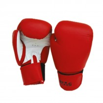 STAG BOXING GLOVES ALL LEATHER RED WHITE RUBBER SHEET 120Z PADDED 3 LASTIC
